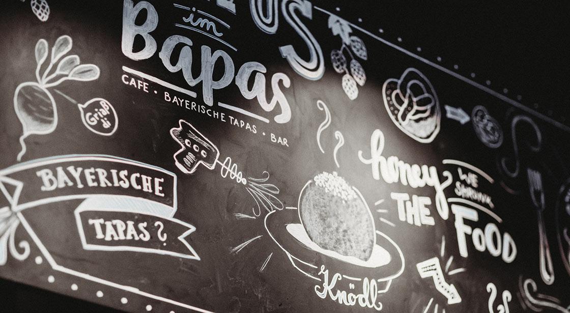 Bapas, Frühstück, Abendessen, Snack, Kaffee und Kuchen, Bar, Leopoldstraße München